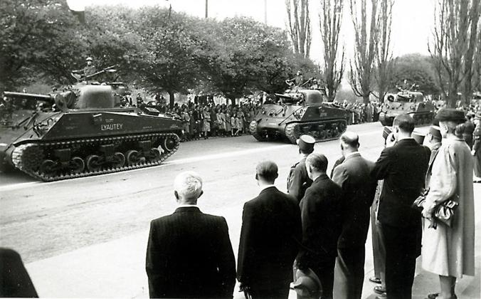 Sherman-Panzer in Marburg, 1945