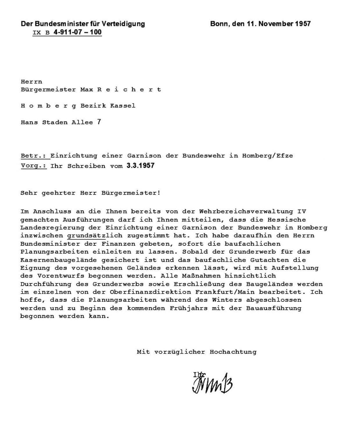 Zustimmung Garnison Homberg Efze