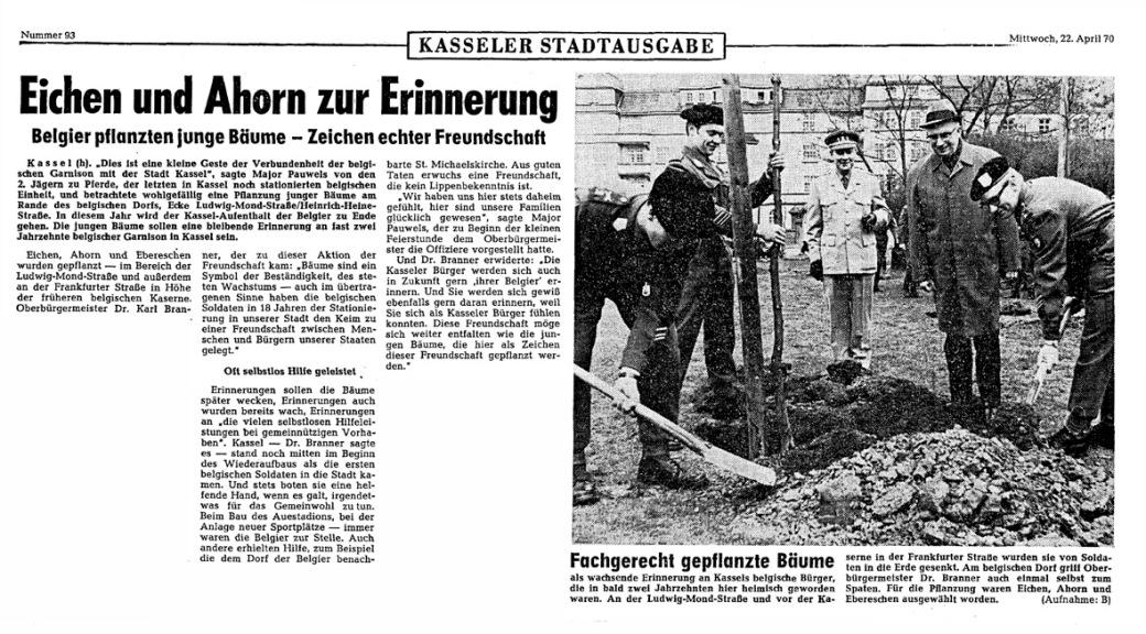 Belgier pflanzten Bäume in Kassel