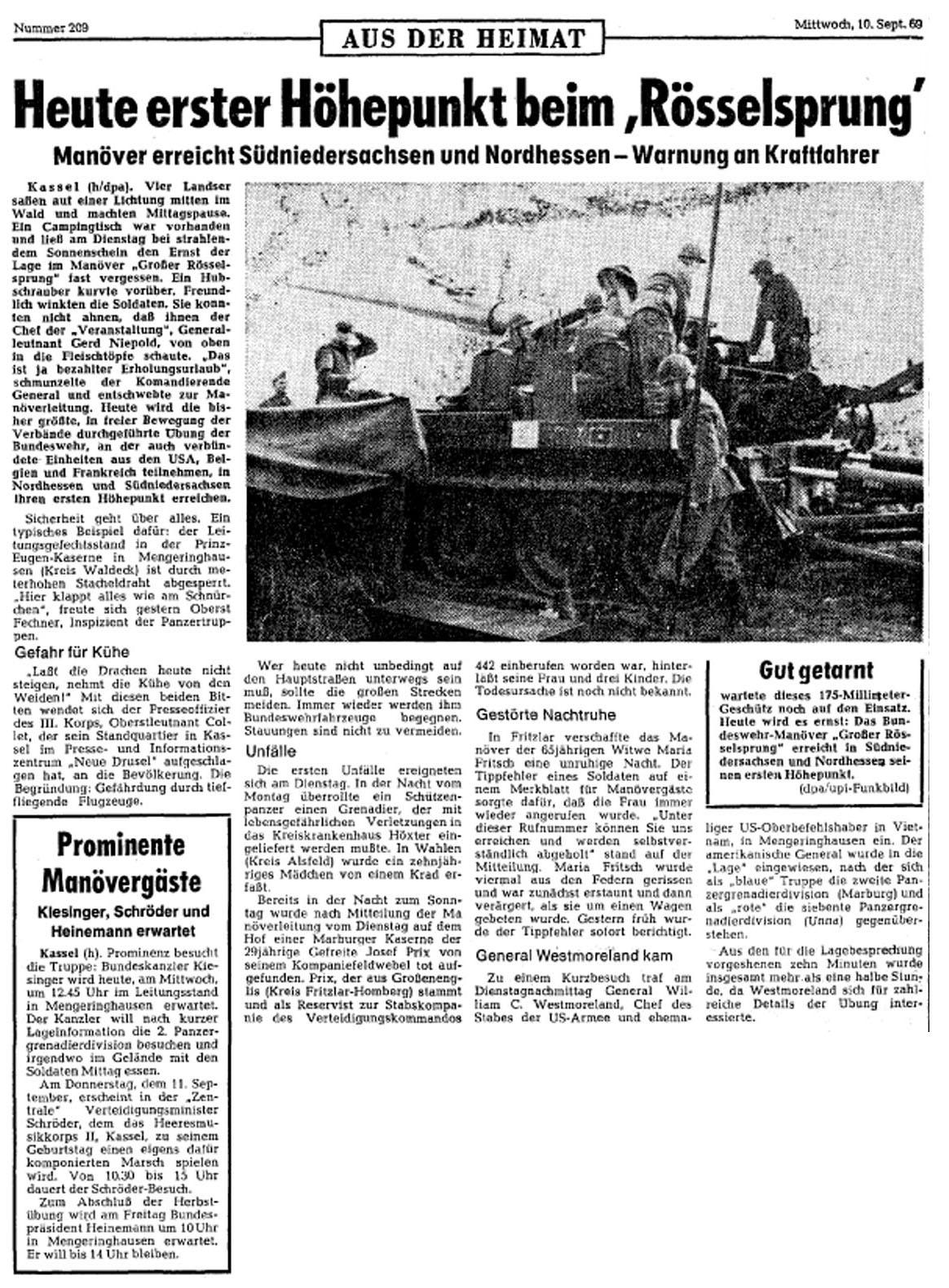 Rösselsrpung Presse 10.09.69