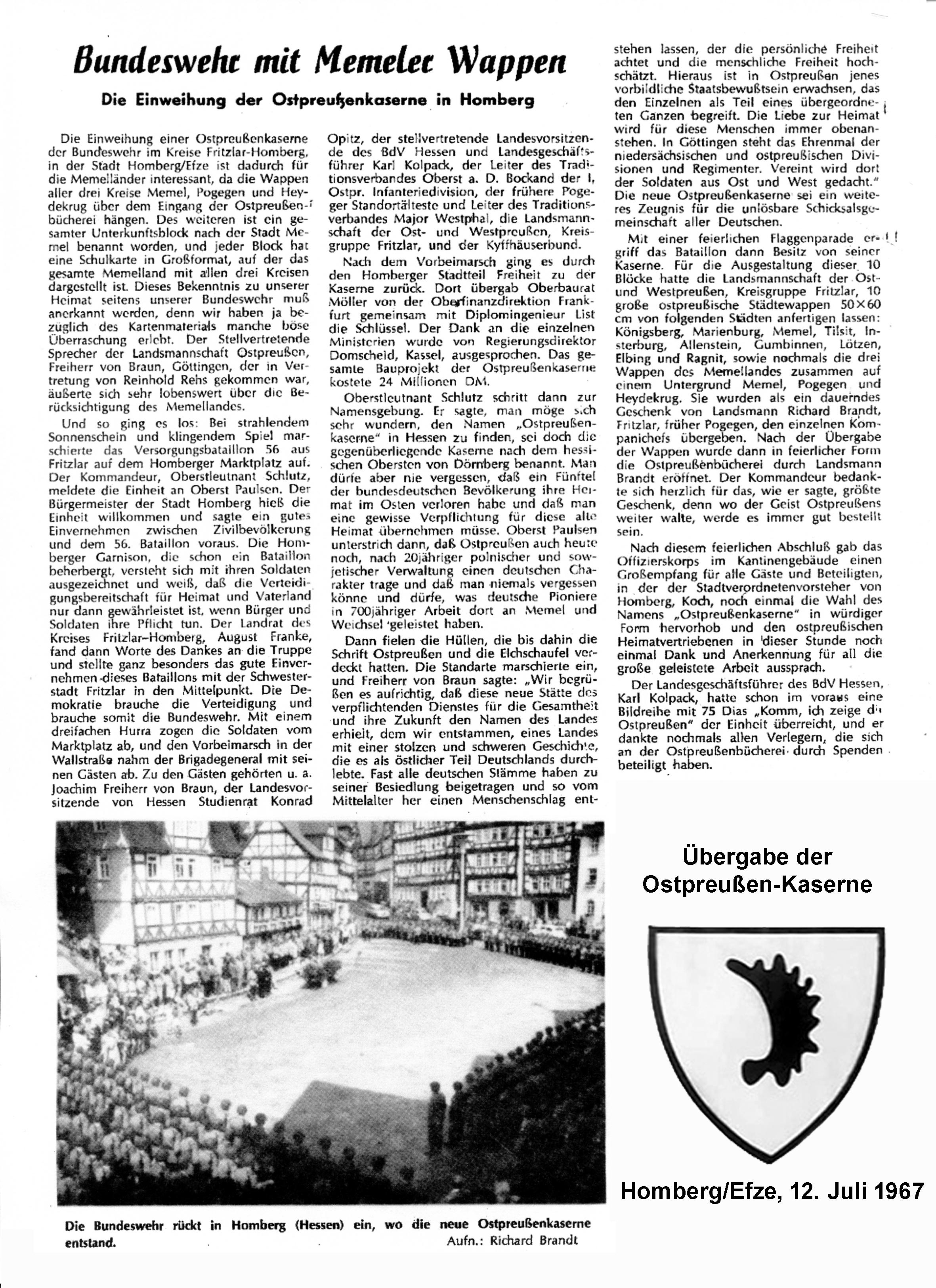 Übergabe Ostpreußen Kaserne 1967 a
