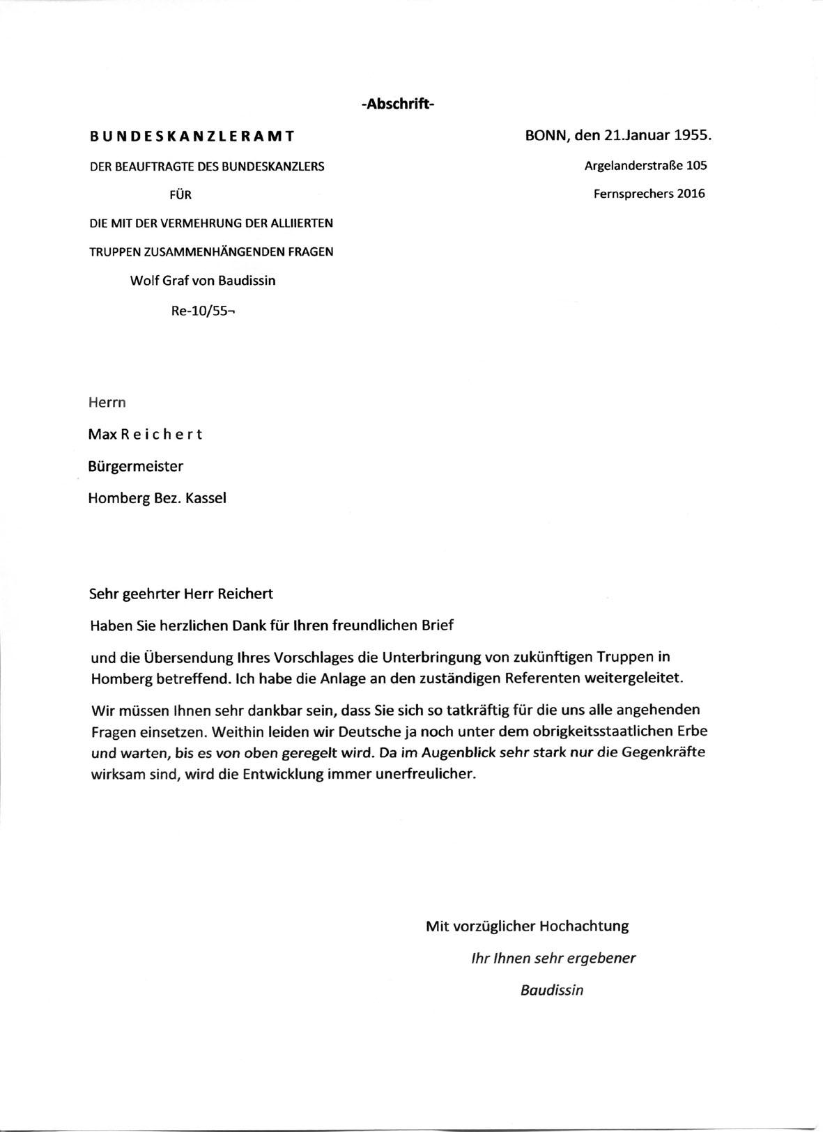 Homberg Kanzleramt an Bürgermeister 21.01.55